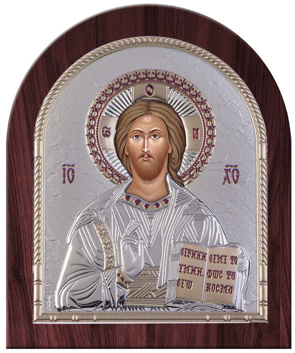 Jesus Christ Greek Orthodox Silver Icon, Silver 20x24.5cm