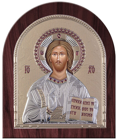 Jesus Christ Greek Orthodox Silver Icon, Gold 20x24.5cm - Handmade with love from Greece