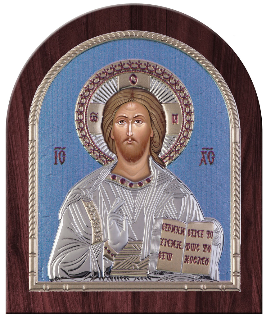 Jesus Christ Greek Orthodox Silver Dome Icon, Blue Ciel
