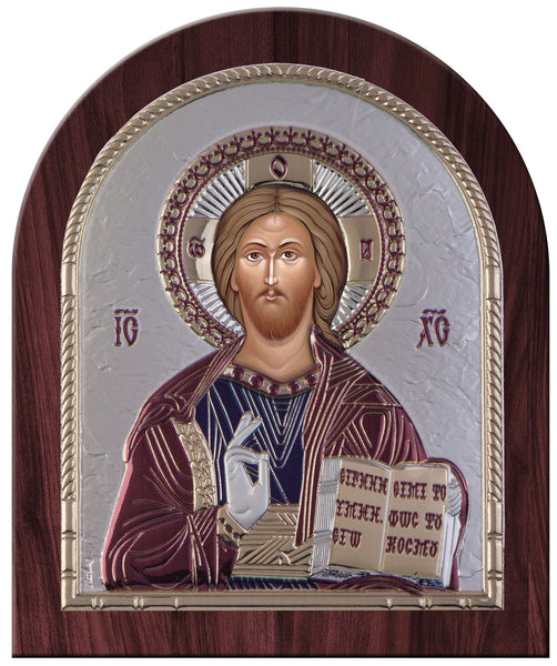 Jesus Christ Greek Orthodox Silver Icon, Burgundy 20x24.5cm