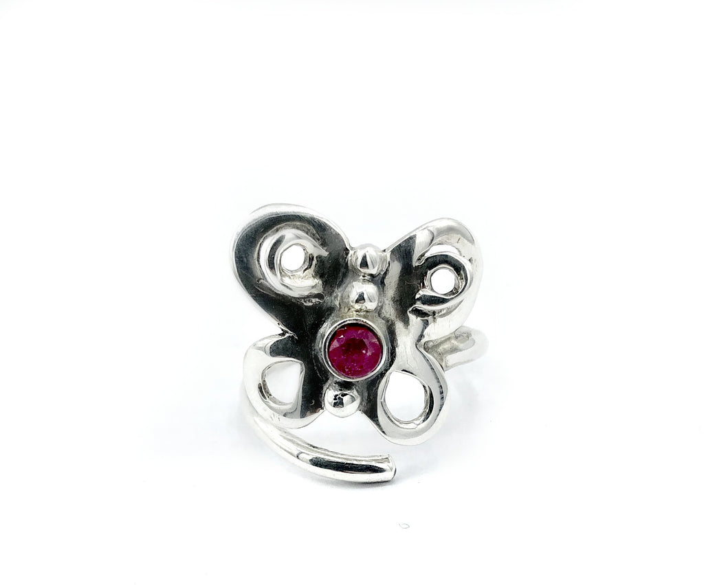 butterfly ring, silver butterfly ring silver adjustable ring, ruby ring