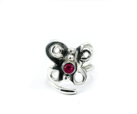 butterfly ring, silver butterfly ring silver adjustable ring, ruby ring - Handmade with love from Greece