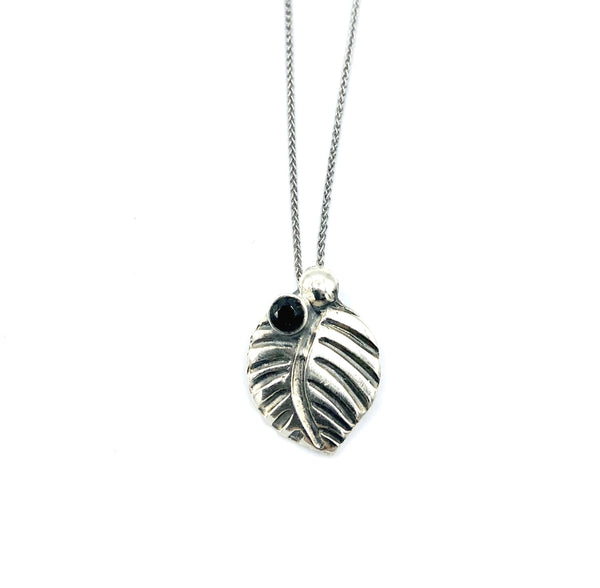 leaf pendant, black spinel gemstone silver pendant with silver chain