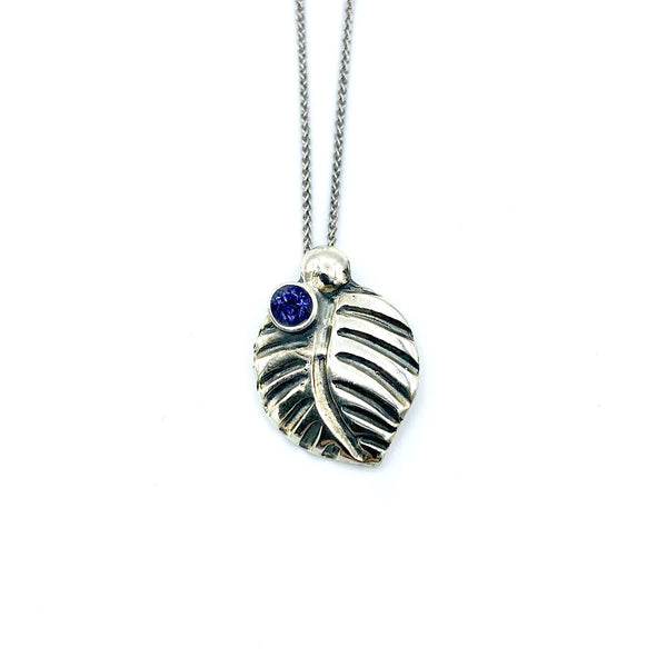 leaf pendant, blue iolite gemstone silver pendant with silver chain