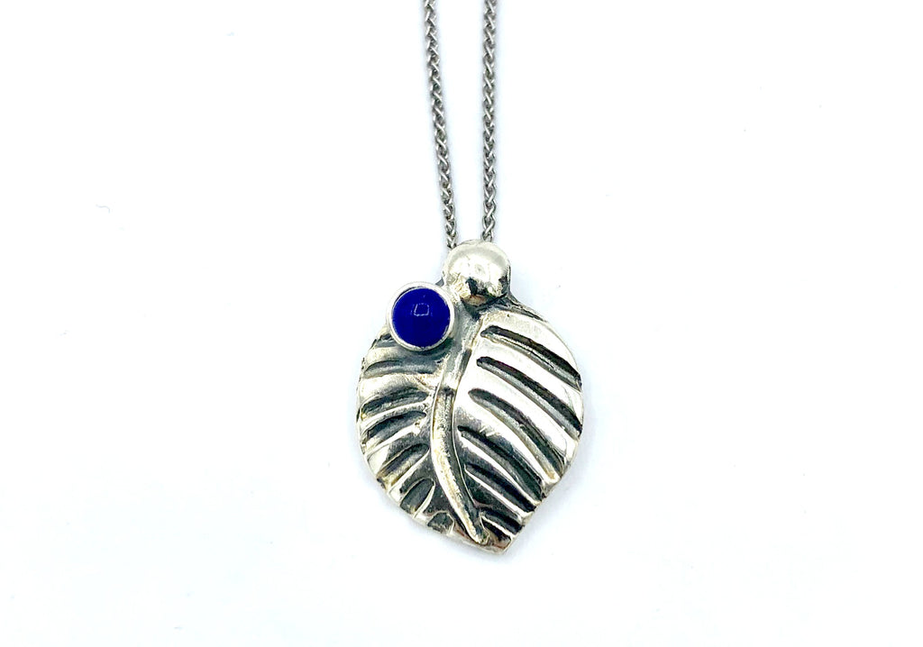 leaf pendant, blue lapis gemstone silver pendant with silver chain