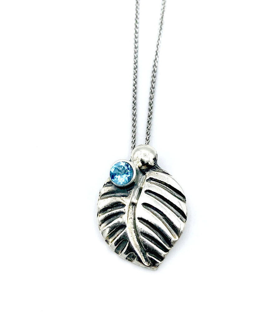 leaf pendant, blue topaz gemstone silver pendant with silver chain