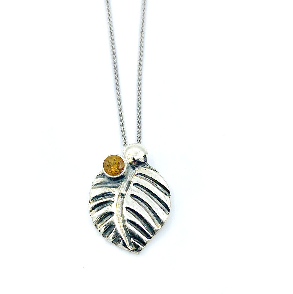 leaf pendant, citrine gemstone silver pendant with silver chain