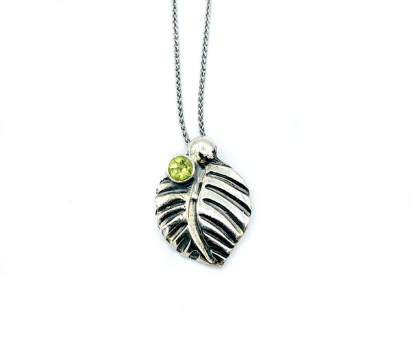 leaf pendant, peridot gemstone silver pendant with silver chain