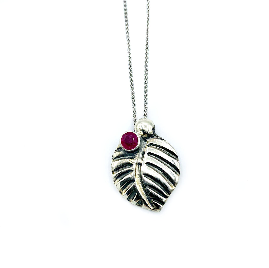 leaf pendant, ruby gemstone silver pendant with silver chain silver leaf pendant