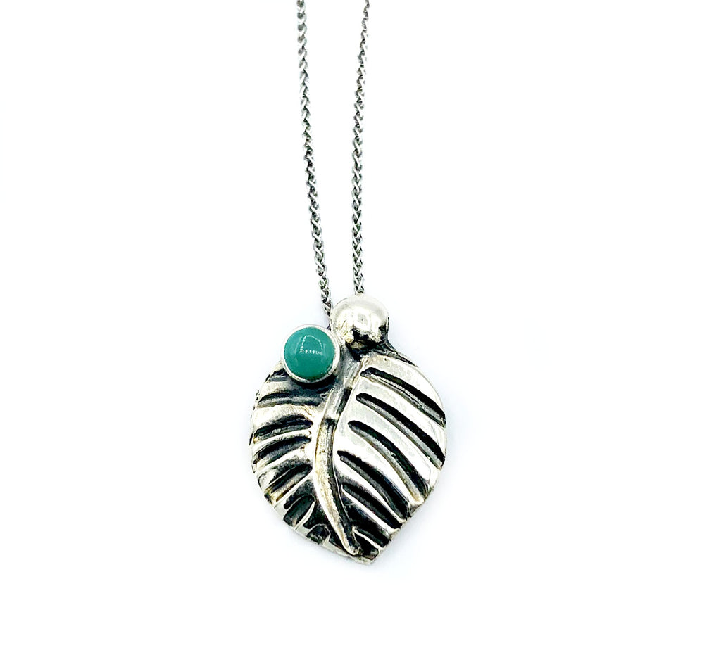 leaf pendant, turquoise gemstone silver pendant with silver chain