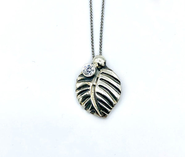 leaf pendant, zircon gemstone silver pendant with silver chain