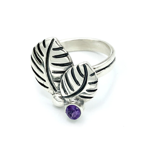 leaves ring, amethyst silver ring, amethyst adjustable silver ring