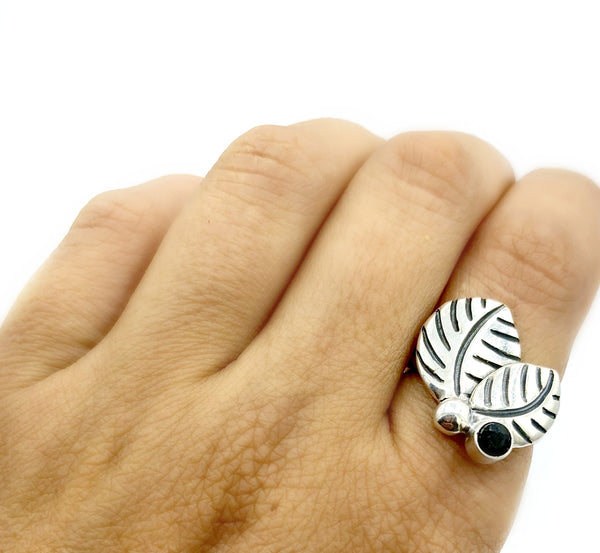 leaves ring, black spinel silver ring, black stone adjustable silver ring