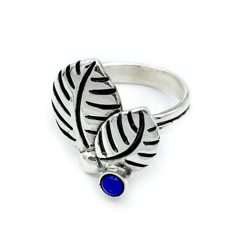 leaves ring, blue lapis silver ring, blue lapis adjustable silver ring