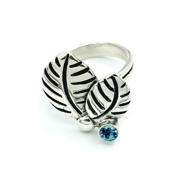 leaves ring, blue topaz silver ring, blue topaz adjustable silver ring