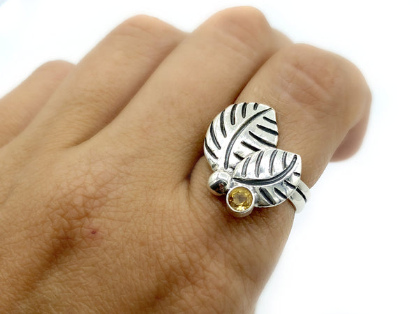 leaves ring, citrine silver ring, citrine adjustable silver ring