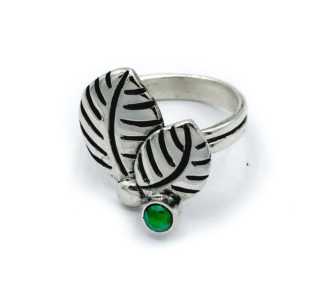 leaves ring, green agate silver ring, green stone adjustable silver ring