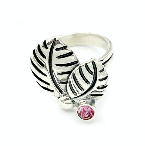 leaves ring, pink tourmaline silver ring, pink tourmaline adjustable silver ring