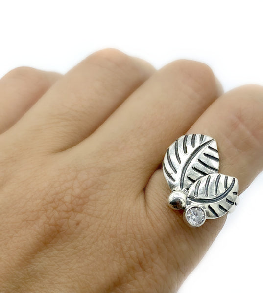 leaves ring, zircon silver ring, zircon adjustable silver ring