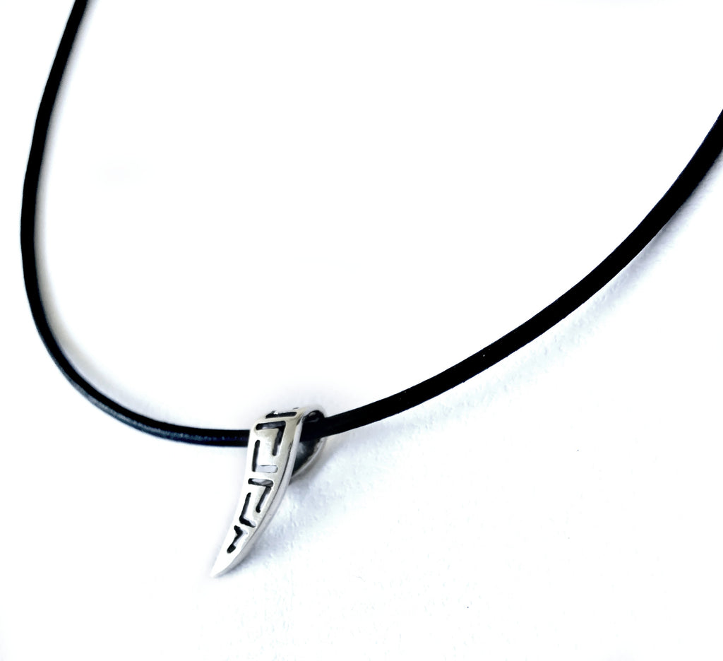 Silver greek key pendant, meander necklace, fine silver pendant leather cord