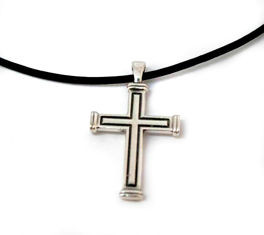 Men's cross necklace with leather rope, oxidised silver cross, silver cross pendant - Handmade with love from Greece