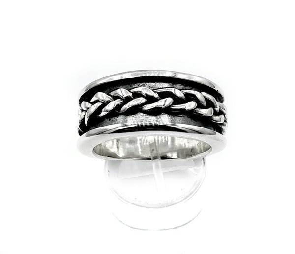 Men's silver ring, braid ring, sterling silver oxidized ring black and silver