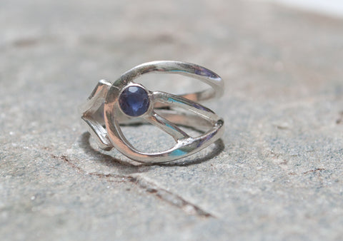blue iolite Silver ring, blue stone ring, modern silver ring - Handmade with love from Greece