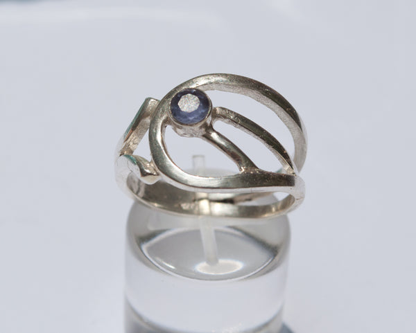blue iolite Silver ring, blue stone ring, modern silver ring