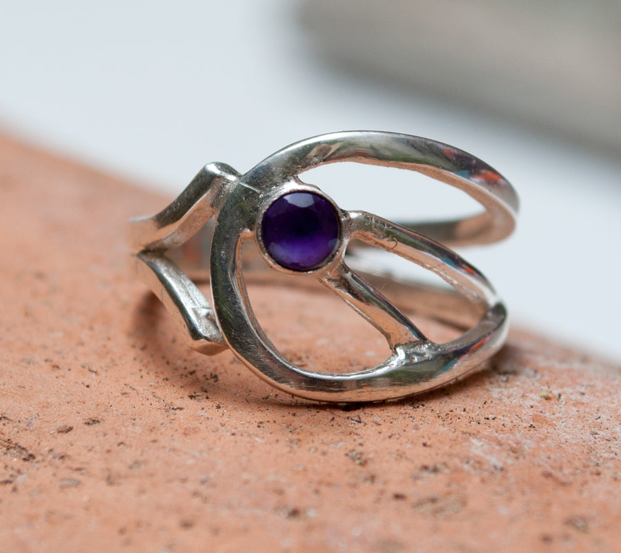 Amethyst Silver ring, Amethyst ring, February birthstone silver ring - Handmade with love from Greece