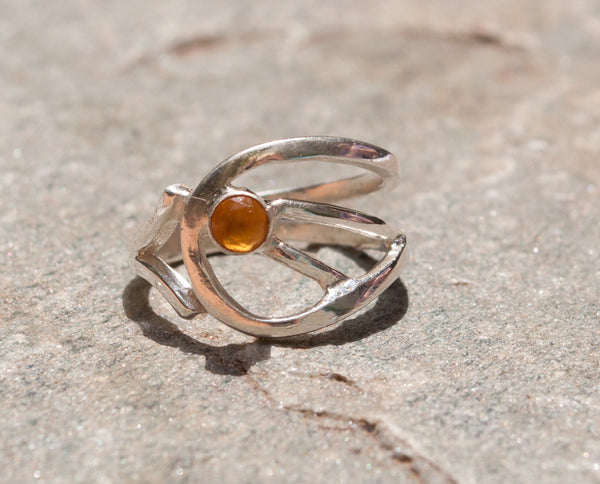 citrine silver ring, yellow stone ring, November birthstone modern silver ring - Handmade with love from Greece