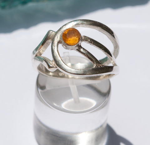 citrine silver ring, yellow stone ring, November birthstone modern silver ring