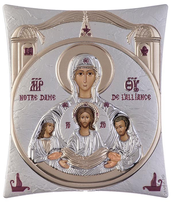 Virgin Mary Notre Dame Greek Christian Orthodox Silver Icon Silver