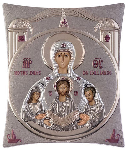 Virgin Mary Notre Dame Greek Christian Orthodox Silver Icon Grey