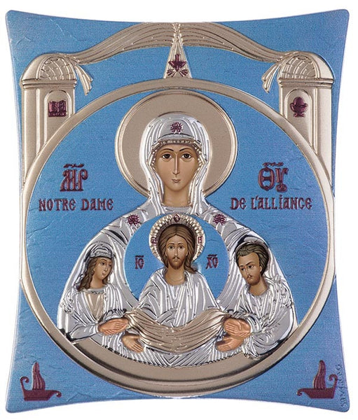 Virgin Mary / Notre Dame - Greek Christian Orthodox Silver Icon, Blue Ciel 11.8x14.6cm