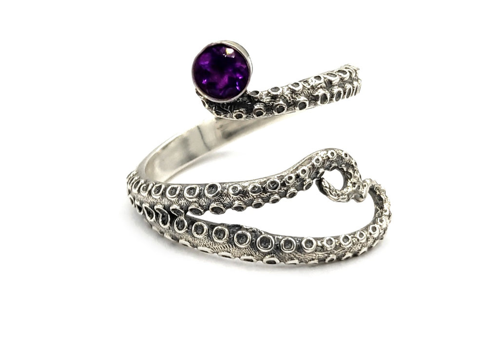 octopus silver ring, amethyst ring, tentacle ring, silver adjustable ring