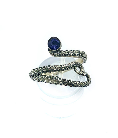 octopus silver ring, blue iolite ring, tentacle ring, silver adjustable ring