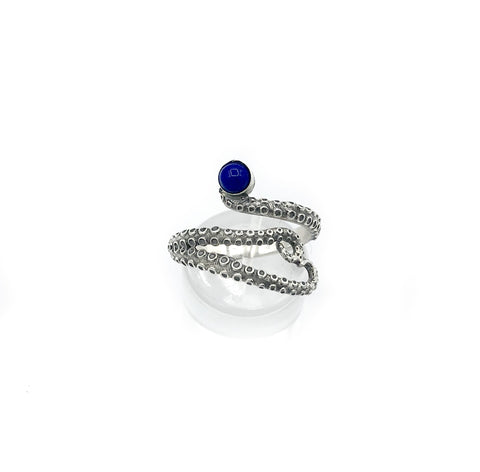 octopus silver ring, blue lapis ring, tentacle ring, silver adjustable ring