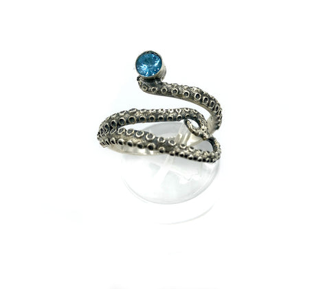 octopus silver ring, blue topaz ring, tentacle ring, silver adjustable ring, November birthstone ring