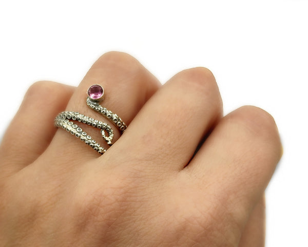octopus silver ring, pink tourmaline ring, tentacle ring, silver adjustable ring