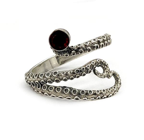 octopus silver ring, red garnet ring, tentacle ring, silver adjustable ring