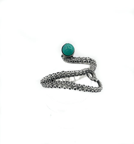 octopus silver ring, turquoise ring, tentacle ring, silver adjustable ring