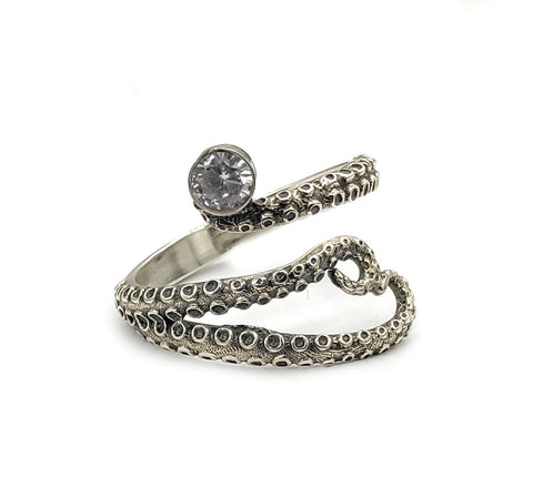 octopus silver ring, zircon ring, tentacle ring, silver adjustable ring