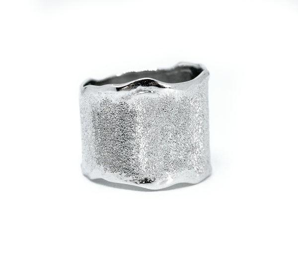 modern wide silver ring, sterling silver wide band rough textured ring greek ring handmade in Greece