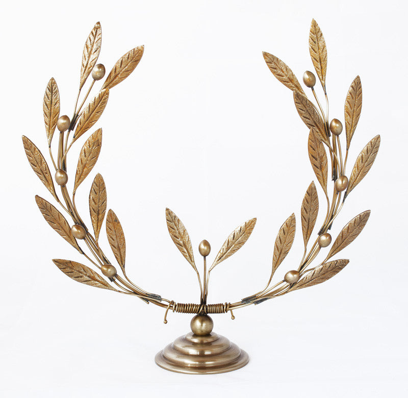 Bronze olive tree branch wreath sculpture - Handmade with love from Greece