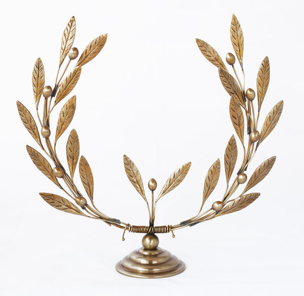 Bronze olive tree branch wreath sculpture
