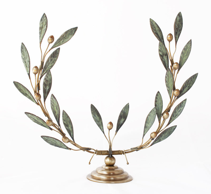 Bronze olive tree branch wreath sculpture verdigris patina finish godess Athena symbol
