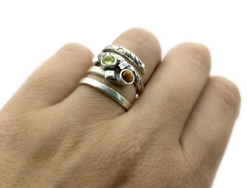 spiral silver ring with citrine and peridot stones, silver adjustable ring