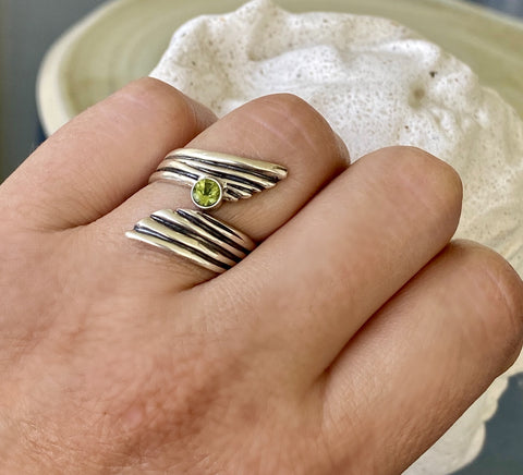 peridot gemstone ring silver, adjustable silver ring, august birthstone ring