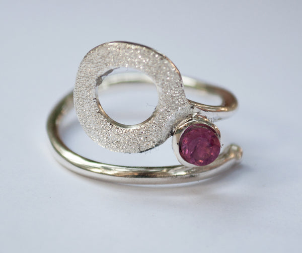 open circle ring, pink tourmaline silver ring, silver geometric ring with pink stone ring pink tourmaline solitaire ring handmade in Greece