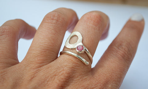 pink tourmaline ring, open circle ring, silver geometric ring, pink stone ring